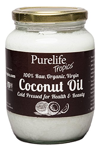 Coconut Oil Organic Raw Virgin 16.9 Ounces, By Purelife Tropics – Non GMO, Chemical Free and Kosher – Bottled From Fresh Coconuts