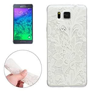 White Carving Pattern Ultra-thin Transparent TPU Protective Case for Samsung Galaxy Alpha / G850