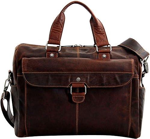 Jack Georges Mens Voyager Top Zip Briefcase w Front Flap