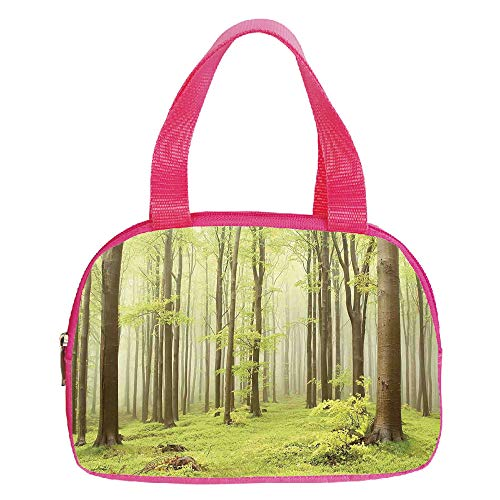 """Multiple Picture Printing Small Handbag Pink,Woodland Decor,Misty Spring Beech Forest in the Mountains of Central Europe Wilderness Nature Picture,Green Beige,for Girls,Comfortable Design.6.3""""x9.4""""x1."""