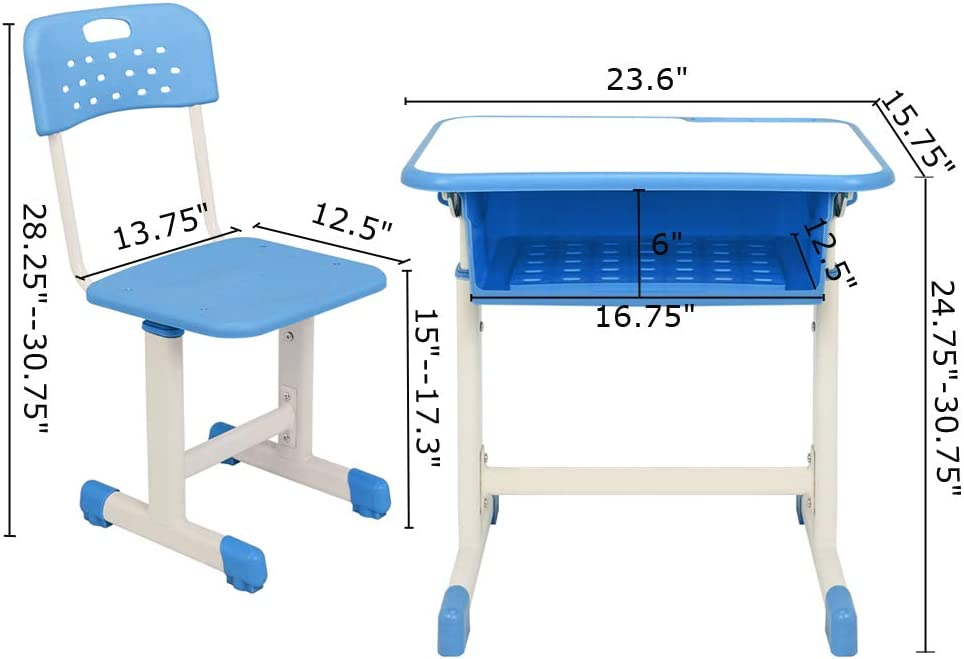 Kids Desk and Chair Set Study Desk for Home and School 23.6inch x 15.8inch Blue Height Adjustable Children Desk with Drawer and Hooks