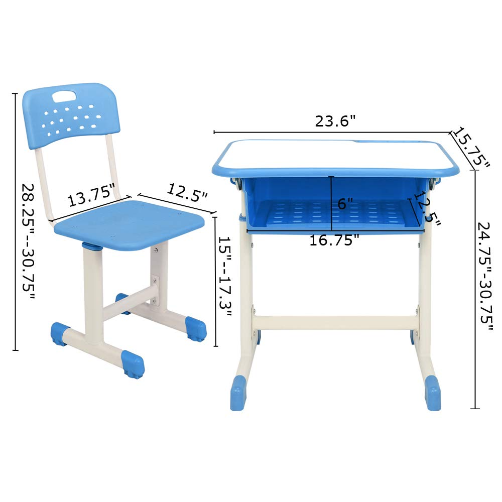 FCH Children's Desk and Chair Set,Height Adjustable Desk and Chair with Hanging Hooks and Pencil Groove (Blue) by FCH (Image #5)