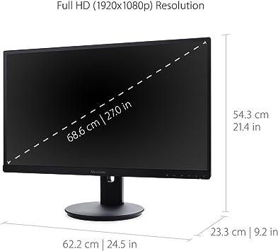 Viewsonic Vg2753 68 6 Cm 27 Zoll Business Monitor Full Hd Ips Panel Hdmi Dp Mdp Lautsprecher Höhenverstellbar Usb Hub