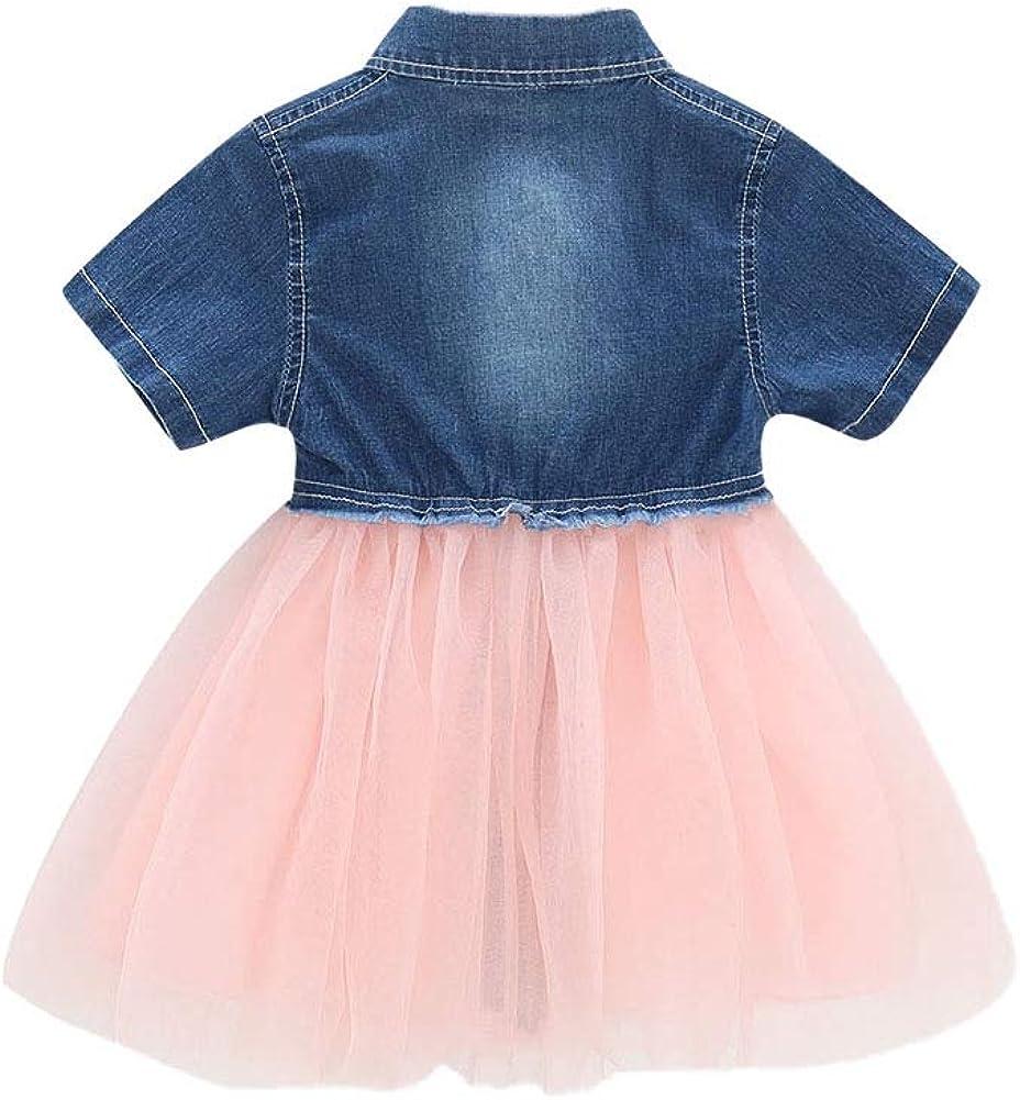 Weixinbuy Kids Girls Short Sleeve Lapel Casual Denim Dresses Princess Tulle Tutu Skirts Clothes