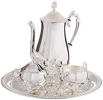 Elegance Silver 8917 Hotel Collection Coffee Service Set 4 Piece  sc 1 st  Amazon.com : silver plated coffee set - pezcame.com