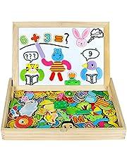 Pizarra Magnética Infantil Rompecabezas Caja Madera Pizarras 160pcs Montessori Juguetes de Educativos Tablero de Dibujo de Doble Cara para Niños 3 4 5(Grande TAMAÑO)