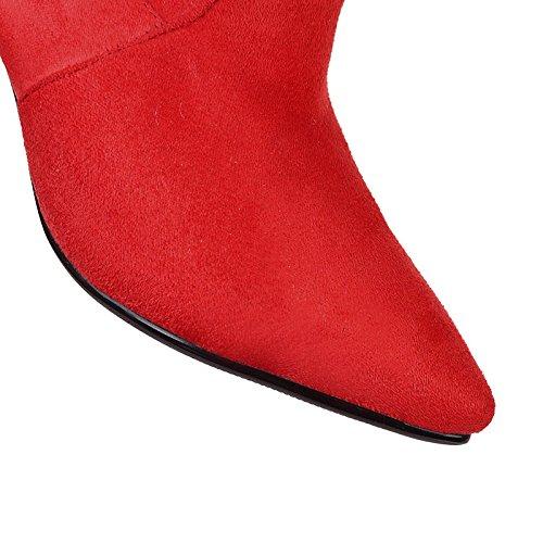 HSXZ Zapatos de mujer moda otoño invierno de cuero de nubuck botas botas Stiletto talón señaló Toe Botas Mid-Calf Side-Draped por parte casual Black