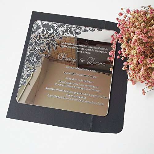 100pcs per lot Beautiful flower 7*7inch square shape laser engraving letters silver mirror acrylic wedding invitation card by HanTang Grand-Tech