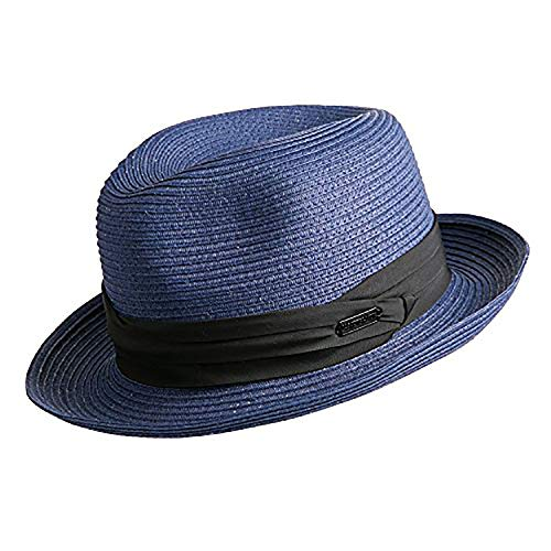 Panama Gambler Hat - Janetshats Gambler Panama Havana Straw Hat Fedora Hats Unisex for Men and Women Blue