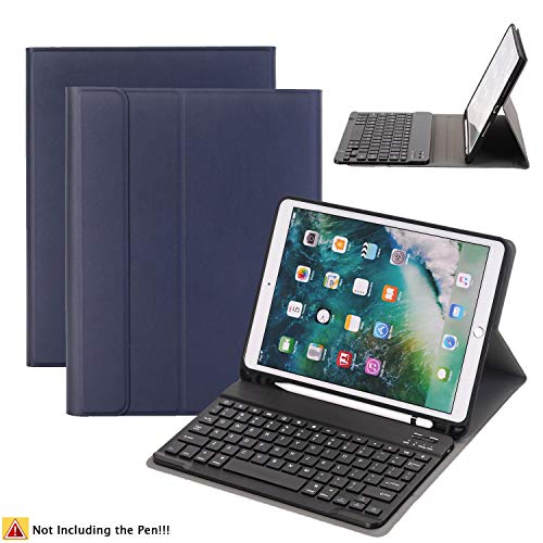 YOUNGFUN iPad Pro 10.5 Case with Wireless Bluetooth Keyboard + Apple Pencil Slot, Detachable/Slim/Leather/Auto Sleep&Awake Tablet Smart Cover for Apple 2017 iPad Pro 10.5(A1701,A1709) ()
