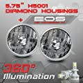 H5001 H5006 5.75 Inch Round Sealed Beam Headlight - Clear Glass Diamond Cut Housing - H4 LED Conversion Kit 6000K Cool White 8000LM 80W