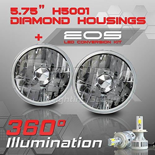 Round Sealed Beam Headlights (H5001 H5006 5.75 Inch Round Sealed Beam Headlight - Clear Glass Diamond Cut Housing - H4 LED Conversion Kit 6000K Cool White 8000LM 80W)
