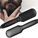 Beard Straightener for Men Beard Straightening Heat Brush Ionic Ceramic Hot Electric Comb with Anti-Scald Feature,LED Display, Heat Quickly with Multiple Temperature Settings for Father's Day Gift