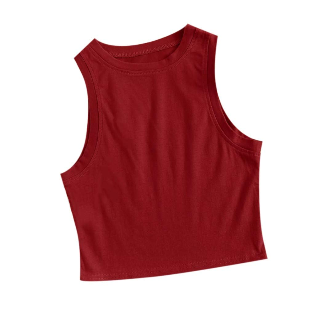 Keliay Womens Tops for Summer,Fashion Women Summer Vest Sleeveless Striped Casual Tank Tops T-Shirt Red