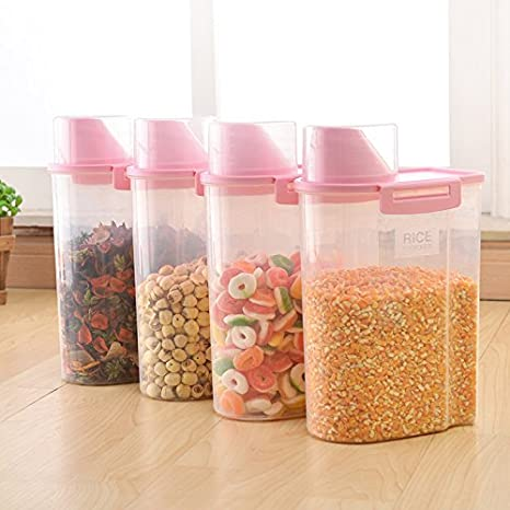 CLG-FLY Cereals dry canister set of four storage tanks plastic box with moisture-proof buckle sealed cans in the kitchen, Azure four set