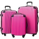 Merax Travelhouse 3 Piece PC+ABS Spinner Luggage Set with TSA Lock (Rose &...