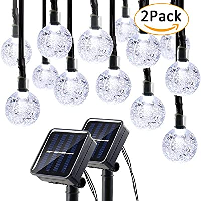 Lumitify Globe Solar String Lights, 19.7ft 30 LED Fairy Crystal Ball Lights, Outdoor Decorative Solar Lights for Christmas Home, Garden, Patio, Lawn, Party and Holiday(White) ¡