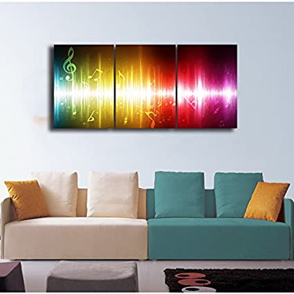 Gardenia Art 16X24 Per Piece Beating Music Notes Canvas Wall Art Paintings Colorful Abstract Art Artwork for Home and Office Decoration Unframed