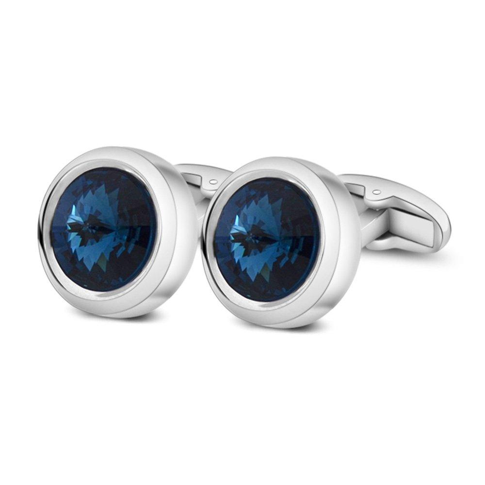 MERIT OCEAN Mens Cufflinks Elegant Style Cuff Link Super Shiny Swarovski Navy Blue Crystal Circular Cufflinks with Gift Box by MERIT OCEAN