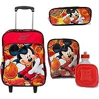 Kit Mochila Infantil Mickey Mouse Disney de Rodinhas Tam G