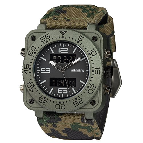(INFANTRY Big Face Mens Military Watch Camo Tactical Wrist Watches for Men Heavy Duty)