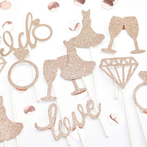 KREATWOW Bridal Cupcake Toppers Picks Rose Gold Glitter Ring Diamond Love Dress I Do Cupcake Toppers for Bridal Shower Wedding Set of 24