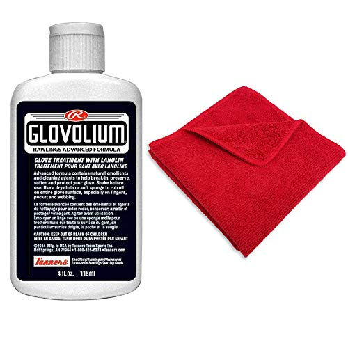 Covey Sports Baseball Softball Glove Oil Conditioning Kit - Rawlings (4 oz.) Glovolium Bottle Bundled Applicator Cloth Baseball Glove Conditioning Oil