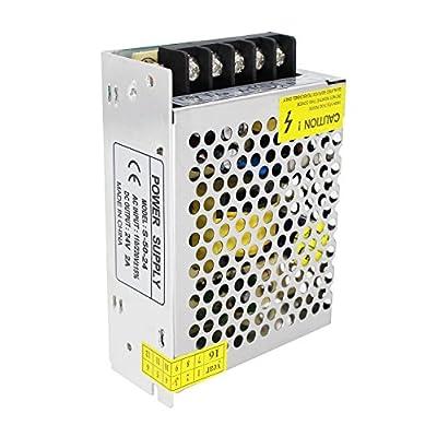 Aiposen 110V/220V AC to DC 24V 2A 48W Switch Power Supply Driver,Power Transformer for CCTV Camera/Security System/LED Strip Light/Radio/Computer Project(24V 2A): Camera & Photo