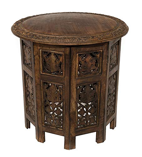 Carved Accents Wood - Artesia Solid Wood Hand Carved Rajasthan Folding Accent Coffee Table, 18 Inch Round Top x 18 Inch High, Brown