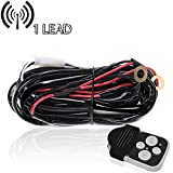 TURBOSII Offroad Led Work Light Bar Wireless Remote Wiring Harness Kit Fuse Relay On/Off Switch Fog Light Heavy Duty Wire 1 Lead for Rzr 800 Mower Boat Golf Cart Aftermarket Light Silverado (1 LEAD UP TO 312W)