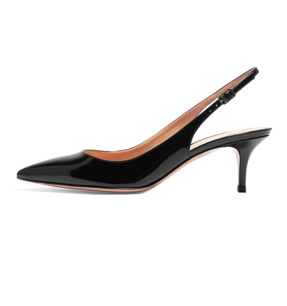 EDEFS Damen Kitten-Heel Slingback Pumps Spitze 6.5cm Mittlerer Absatz Pointed Toe Schuhe  43 EU|Schwarz