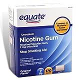 Equate - Nicotine Gum Polacrilex 2 mg, Stop Smoking Aid, Original Flavor, 170 Pieces