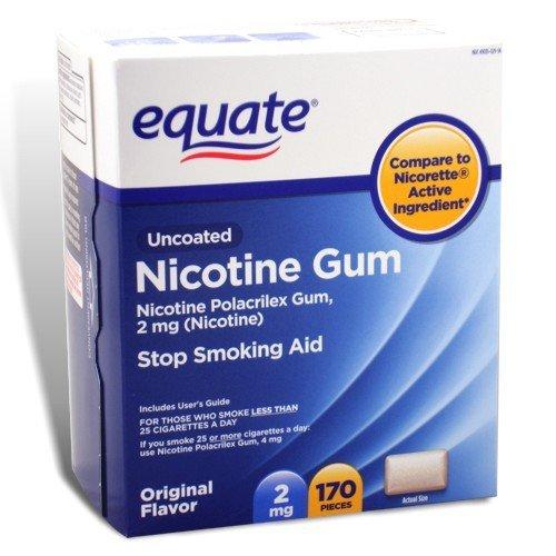 (Equate - Nicotine Gum Polacrilex 2 mg, Stop Smoking Aid, Original Flavor, 170 Pieces)