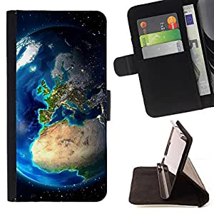 BullDog Case - FOR/LG OPTIMUS L90 / - / Planet earth From Space /- Monedero de cuero de la PU Llevar cubierta de la caja con el ID Credit Card Slots Flip funda de cuer