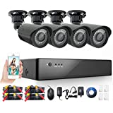Anlink 8-Channel HD 720p Security Camera System DVR and 4 x 1.0 MP 720P(1280TVL) Night Vision Indoor Outdoor Waterproof CCTV Bullet Cameras with Crystal Images and Motion Detection(NO HDD)