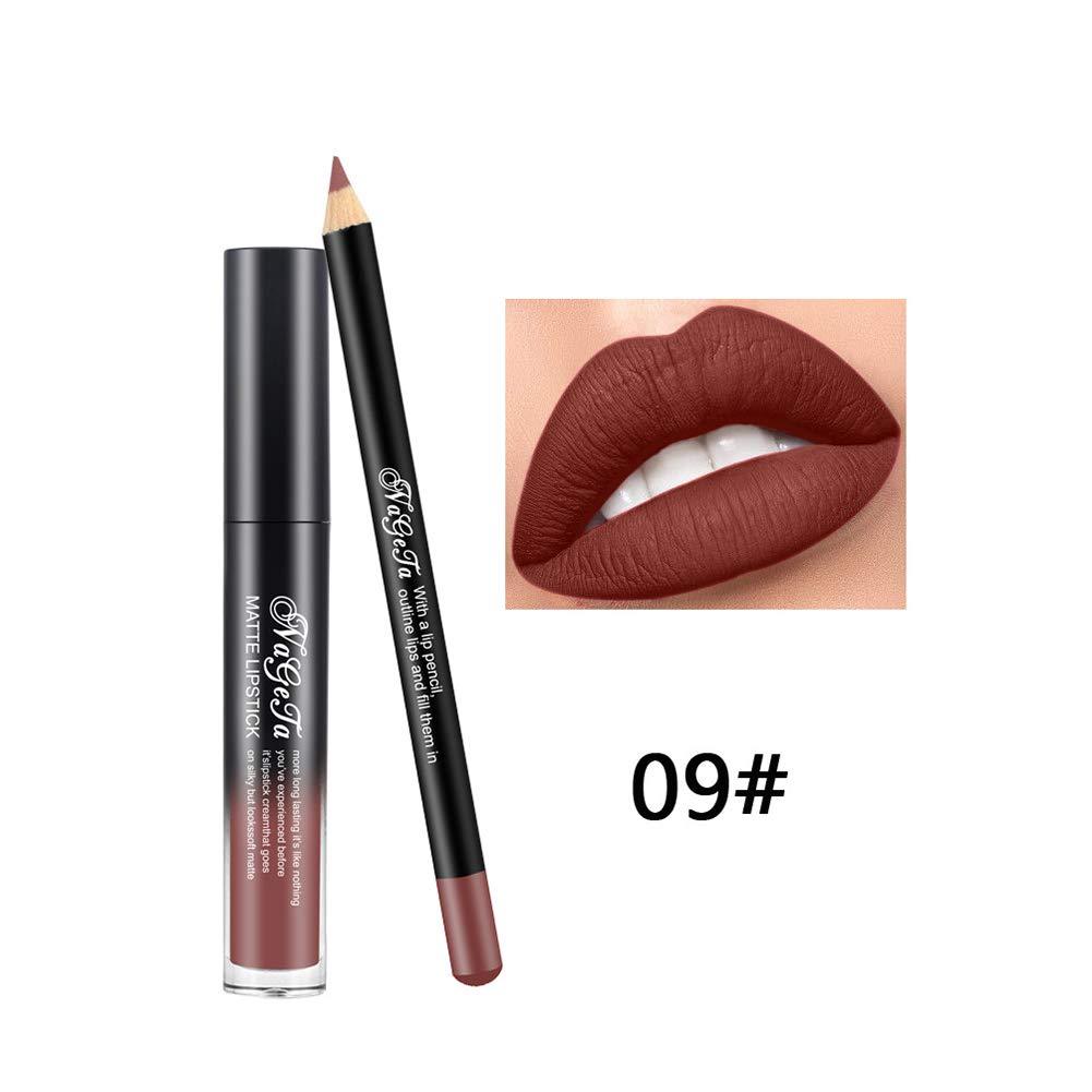 Lápiz labial 2PCS / SET con delineador de labios brillo de labios mate lápiz delineador de labios lápiz de labios de larga duración labios ...
