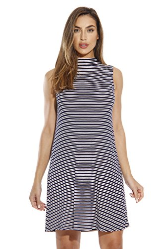 (Just Love 401562-NC-L Stripe Short Dress/Summer Dresses for Women Navy/Cream)