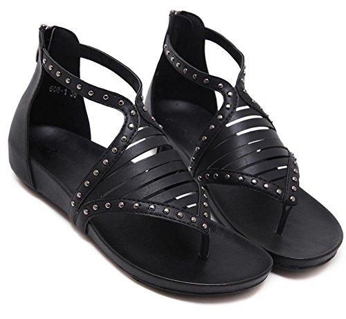 Retro weiblichen Studenten Niet Klippzehesandelholz Steigung mit den Reißverschluss Sandalen weiblichen Sommer Sandalen black