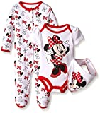 Disney Baby Minnie Mouse 3 Pc Set with Bib, Multi/White, 6/9 Months