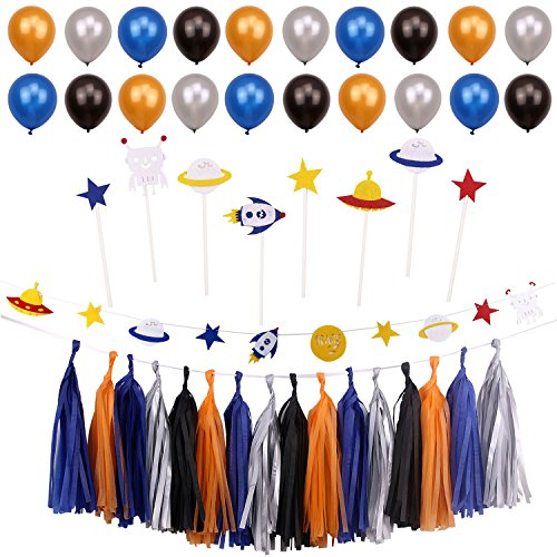 Simla Decor Outer Space Theme Party Decoration Kids Boy Birthday Party Supplies Baby Shower Paper Tassel Bunting Banner Kits Cupcake Toppers Cake Decoration -