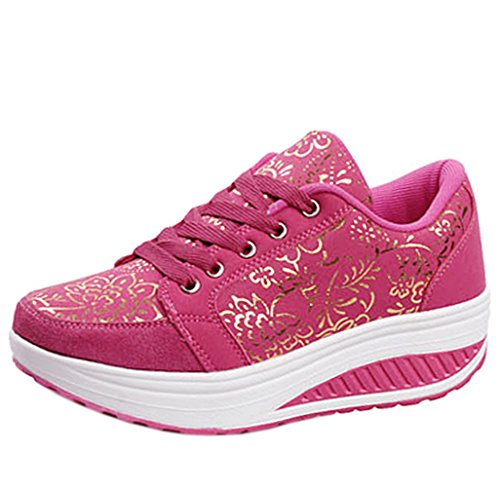 Solshine Damen Fashion Plateau Schnürer Sneakers mit Keilabsatz WALKMAXX Schuhe Fitnessschuhe Pink 3