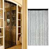 Whitelotous Decent Black Line Curtain - Fringe Drape String Door Curtain Panel - with Bead Chain Decor 1X2M