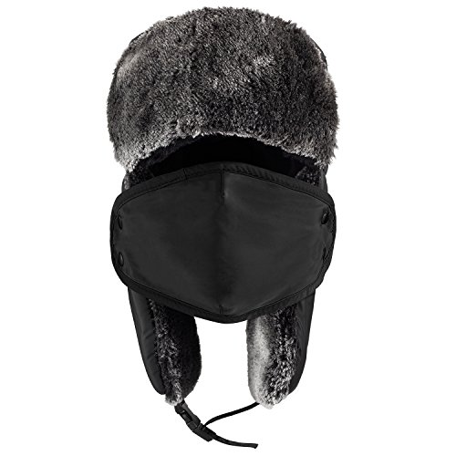 2daa181ef Mysuntown Unisex Winter Trooper Trapper Hat Hunting Hat Ushanka Ear Flap  Chin Strap and Windproof Mask,Black,22-24 Inches ,One Size Fits All - ...