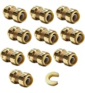 (Pack of 10) EFIELD 1/2 Inch Straight Coupling Push-Fit Fitting to Connect Pex, Copper, CPVC With...