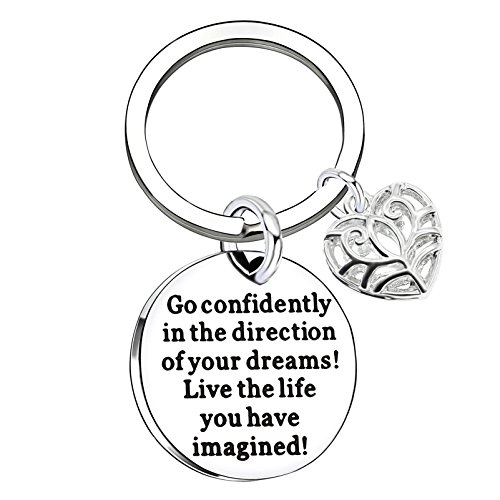 lauhonmin Compass Key Chain Go Confidently in The Direction of Your Dreams Live The Life You Have Imagined (Heart)