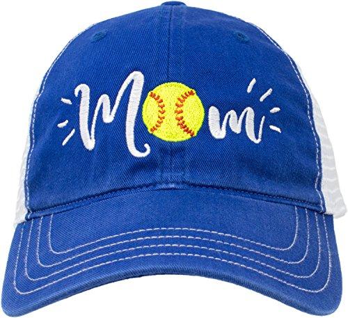 (Softball Mom Hat | Cute Team Color Fan Cap for Women Black Red Blue Green Purple - Royal)
