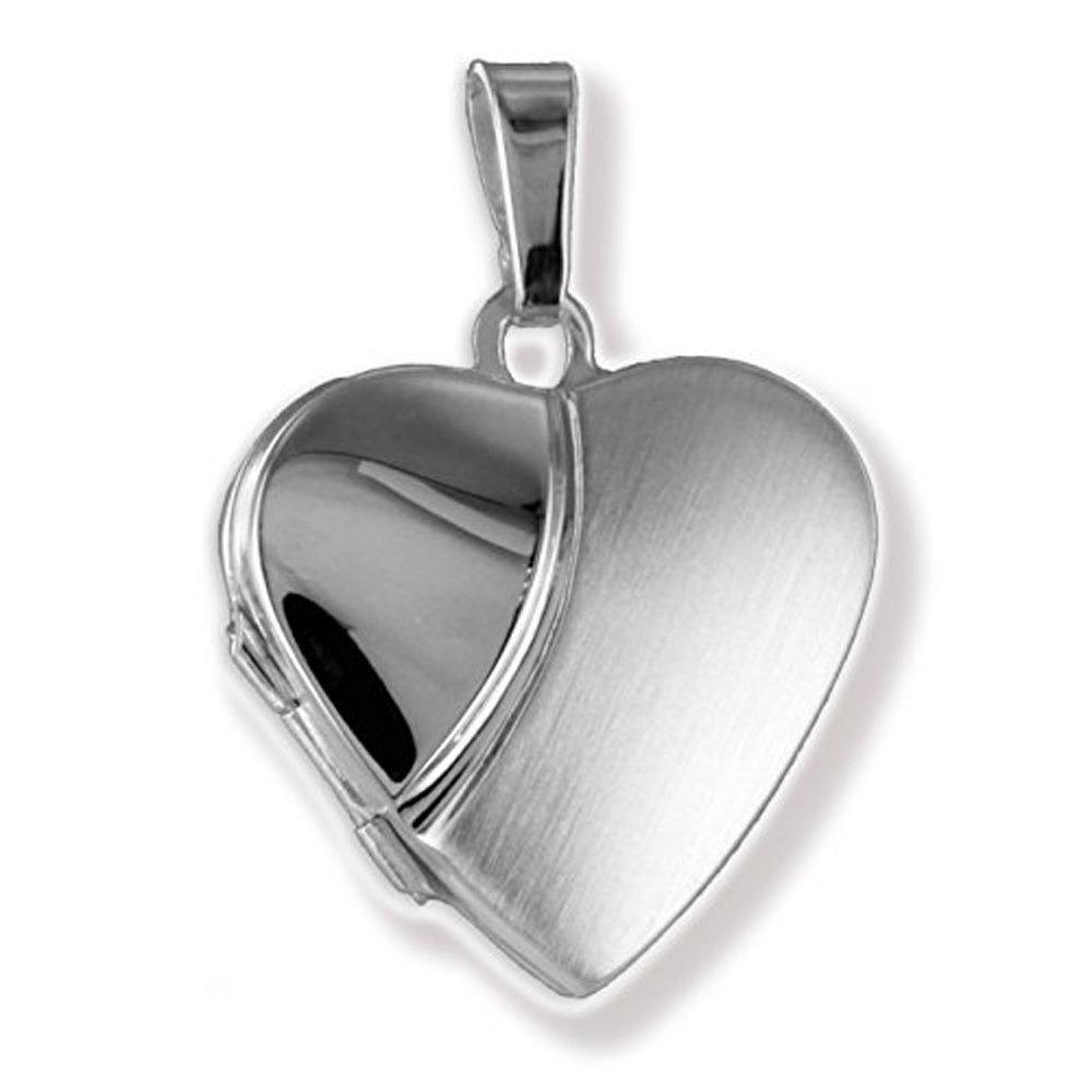 Herz Medaillon Echt 925 Silber teilmatt