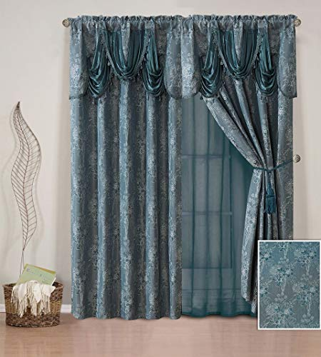 (Elegant Home Window Curtain Drapes All-in-One Set with Valance & Sheer Backing & Tassels for Living Room, Bedroom, Dining Room, and Sliding Doors - Piper (Teal))