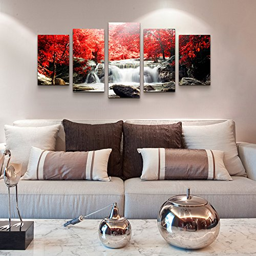 youkuart canvas wall art 5-Piece Red Woods Waterfall Canvas Print Paintings for Wall and Home Decor by youkuart