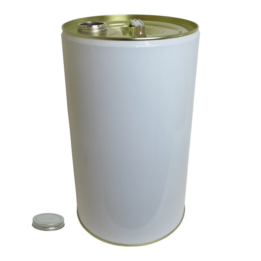 25 Litre Ltr L White Plain Tinplate Drum with 78mm Screw Neck Cap for Storage Oil Solvent Based Products Oipps